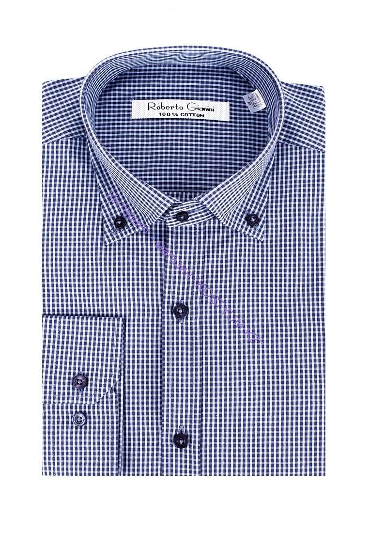 73edcda6c2232b8 Мужская сорочка синяя в клетку Dion купить в интернет-магазине KOSTYUM.KZ